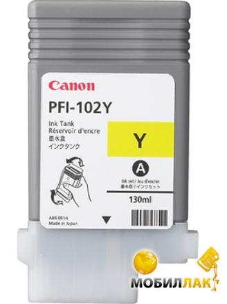 Картридж струйный Canon iPF500/6x0 130мл PFI-102Y, Yellow (0898B001)