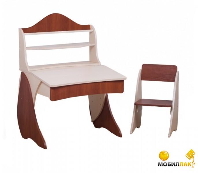 Парта со стульчиком и надстройкой Вальтер-С Умник (венге светлый, яблоня темная)