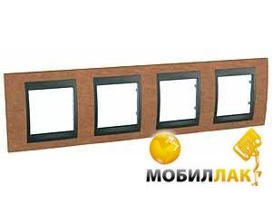Рамка 4-постовая вертикальная Schneider Electric Unica черешня/графит (MGU66.008.2M2)