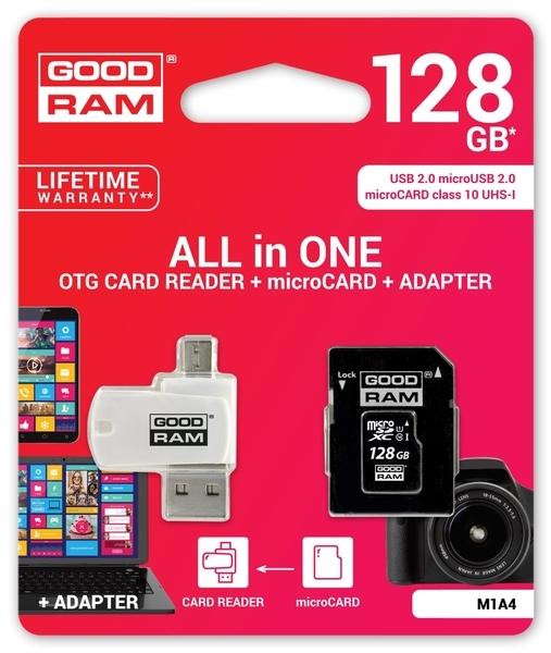 Карта памяти Goodram microSDXC 128GB Cl10 UHS I All in One+OTG reader (M1A4-1280R11)