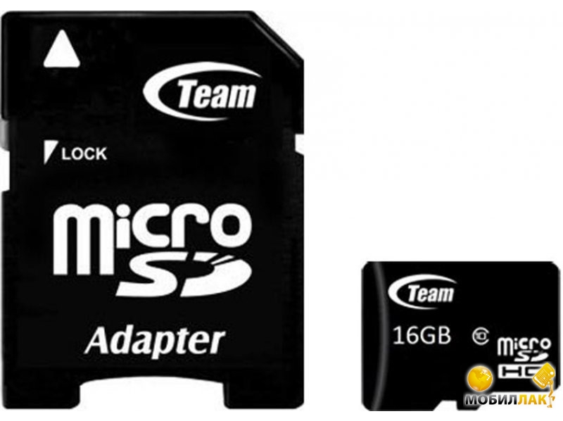 Карта памяти Team microSDHC 16GB Class 10 (adapter SD) (TUSDH16GCL1003)