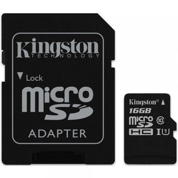 Карта памяти Kingston 16 GB microSDHC Class 10 UHS-I Canvas Select + SD Adapter (SDCS/16GB)