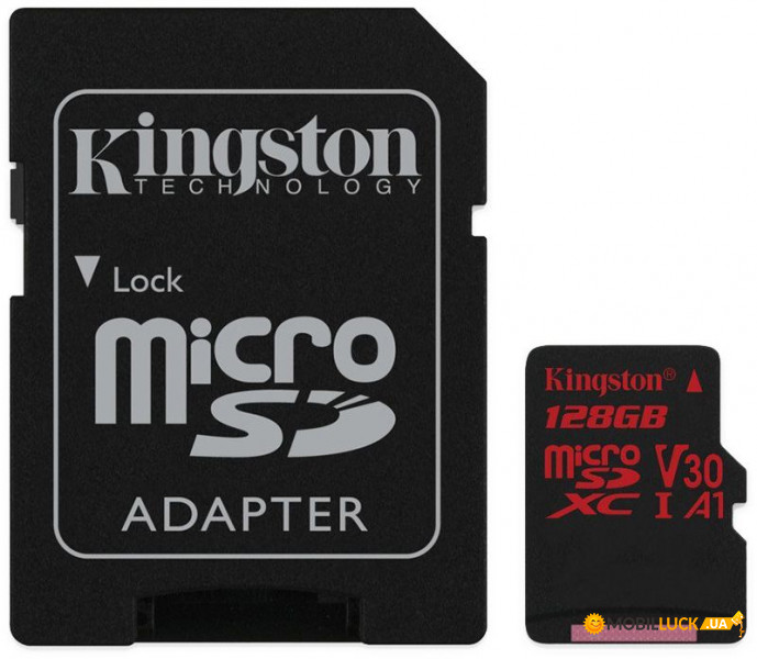 Карта памяти Kingston microSDHC/SDXC UHS-I U3 Class 10 Canvas React R100/W80MB/s SD-адаптер 128Gb