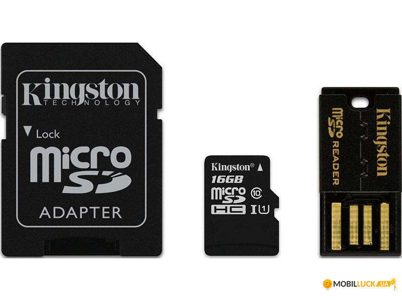 Карта памяти Kingston microSDHC/microSDXC Class 10 UHS-I SD adapter/USB reader 32Gb