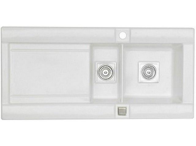 Кухонная мойка Longran Geo 1.5B Opal White R (с сифоном)