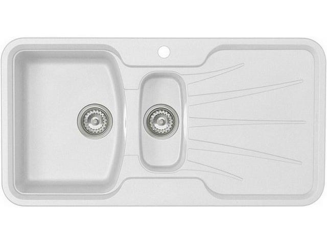 Кухонная мойка Longran Korona 1.5B Opal White (с сифоном)