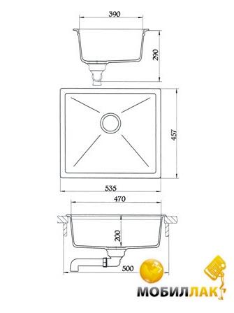 Кухонная мойка Longran SLG 535.457-10 Onyx (с сифоном)