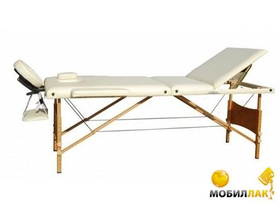 Массажный стол 3-х секционный HouseFit HY-30110-1.2.3 бежевый (дерев. рама)