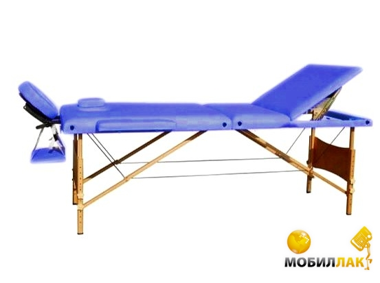 Массажный стол 3-х секционный HouseFit HY-30110-1.2.3 синий (дерев. рама)