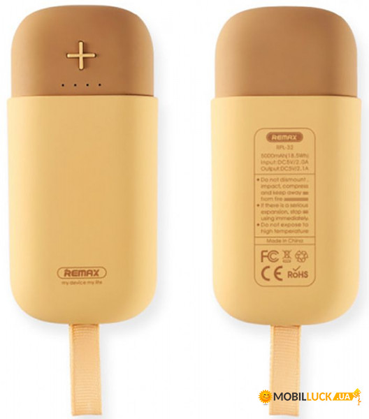 Внешний аккумулятор Remax Power Bank Camaroon Series RPL-32 5000 mah Yellow