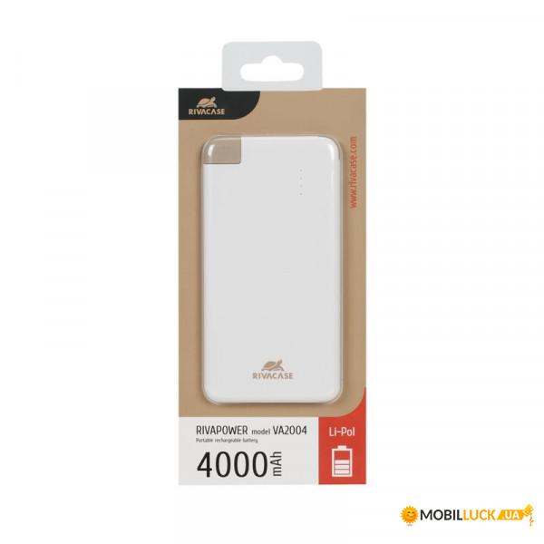 универсальная мобильная батарея Rivacase Rivapower 4000mah White