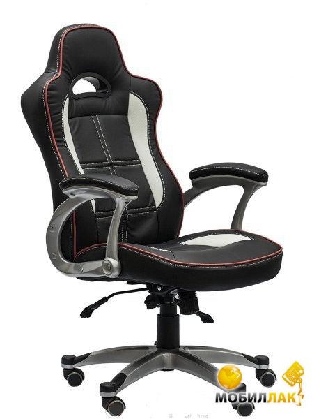 Кресло AMF Драйв кожзам черный / белые вставки