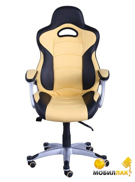 Кресло AMF Форсаж №1 кожзам черный / желтые вставки