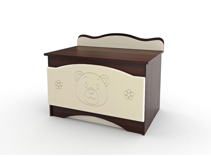 Ящик для игрушек Вальтер-С Мишка Ваниль — Орех темный