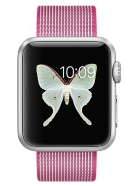 Смарт-часы Apple Watch Sport 38mm Silver Aluminum Case with Pink Woven Nylon (MMF32)