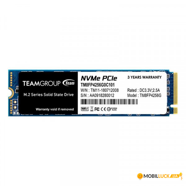 SSD накопитель Team MP34 256GB M.2 2280 (TM8FP4256G0C101)