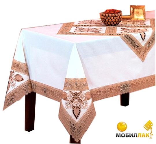 Скатерть Kayaoglu с кольцами 12 предметов Kamelya белый 160Х240 (8698703890381)