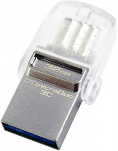 Флешка USB Kingston DataTraveler MicroDuo 3С 32Gb, Type-C USB 3.0 Silver