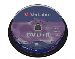 Диски Verbatim DVD+R 4,7GB 16x Cake Box 10шт (43498)
