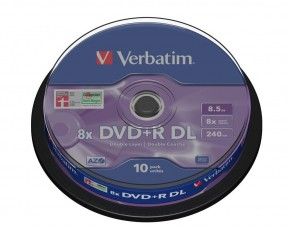 Диски Verbatim DVD+R 8,5GB 8x Cake Box 10шт Dual Layer (43666)