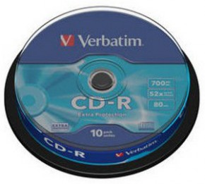 Диски Verbatim CD-R 700MB 52x Cake Box 10шт (43437)