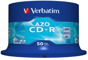 Диски Verbatim CD-R 700Mb 52x Cake 50 Cryst (43343)