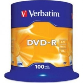 Диски Verbatim DVD-R 4,7GB 16x Spindle Packaging 100шт (43549)