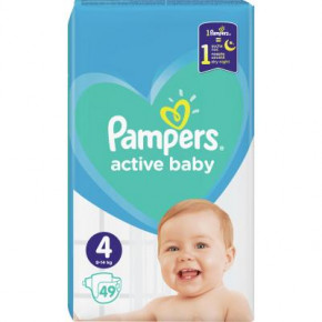 Подгузник Pampers Active Baby Maxi Размер 4 (9-14 кг), 49 шт. (8001090949851)
