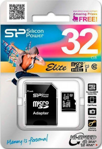 Карта памяти Silicon Power microSDHC class 10 UHS-I Elite SD adapter 32GB 3