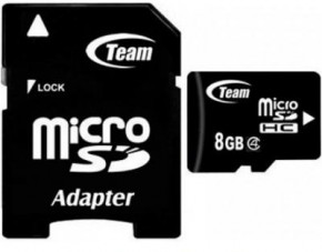 Карта памяти Team microSDHC 8GB Class 4 (adapter SD) (TUSDH8GCL403)