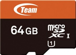 Карта памяти Team microSDXC 64GB Class 10 UHS-I (SD adapter) (TUSDX64GUHS03)