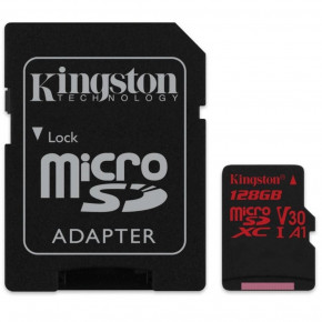 Фотография Карта памяти Kingston 128 GB microSDXC class 10 UHS-I U3 Canvas React + SD Adapter (SDCR/128GB) (0)