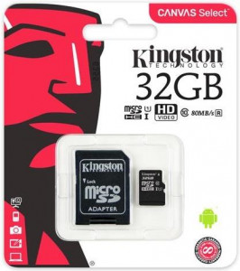 Карта памяти Kingston 32 GB microSDHC Class 10 UHS-I Canvas Select + SD Adapter (SDCS/32GB)