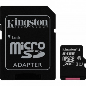 Карта памяти Kingston 64 GB microSDXC Class 10 UHS-I Canvas Select + SD Adapter (SDCS/64GB)