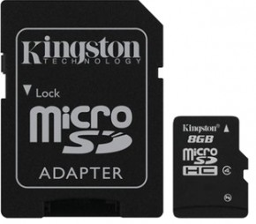 Карта памяти Kingston 8GB microSDHC Class 4 (adapter SD) (SDC4/8GB)