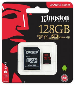 Карта памяти Kingston microSDHC/SDXC UHS-I U3 Class 10 Canvas React R100/W80MB/s SD-адаптер 128Gb 4