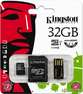 Карта памяти Kingston microSDHC/microSDXC Class 10 UHS-I SD adapter/USB reader 32Gb 3