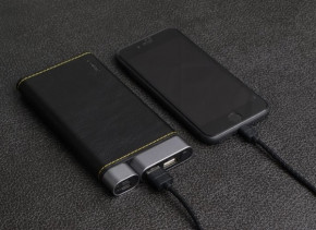 Внешний аккумулятор Puridea X01 10000mAh Li-Pol +TYPE-C Leather Black 11
