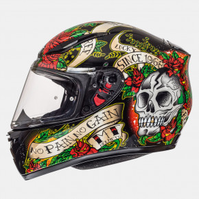 Мотошлем MT Helmets REVENGE Skull and Roses Gloss black-red XS