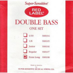 Струны для контрабаса Super Sensitive SS8108 Red Lable Double Bass Extra Long